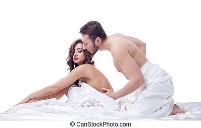 bonito, dois, cama, pessoas, posar, intimidade