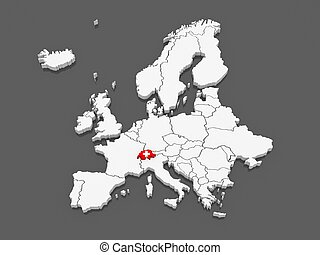 Map of Europe and Switzerland 3d