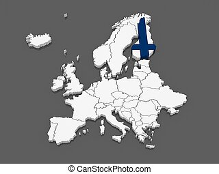 Map of Europe and Finland.