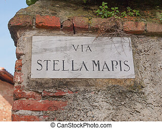 Street sign - Via Stella Maris street sign in Rivoli Italy