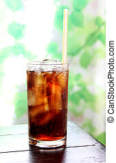 cola drink in glass - cola drink in glass on the foods table...