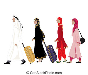 arab people - an illustration of arab people dressed in...