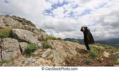 hiker controled digital gps (map) - hiker short breaktime...
