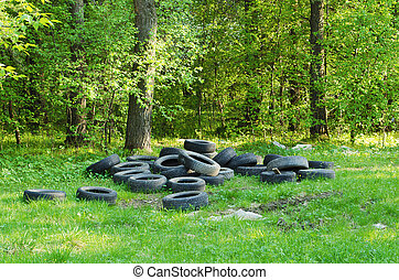 Dump of old automobile tyre