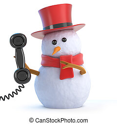 3d Posh snowman answers the phone - 3d render of a snowman...