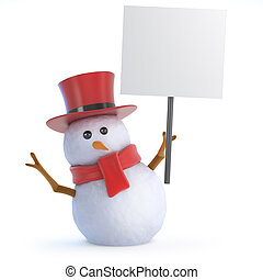 3d Posh snowman placard - 3d render of a snowman in a top...