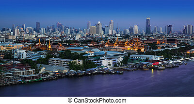 Chao Phraya River, Bangkok,Thailand - Grand Palace and Wat...