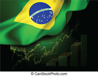 Market Financial Data with flag of Brazil, as an indicator...