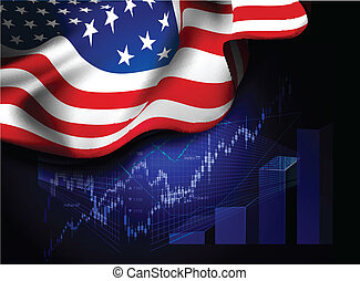 Market Financial Data with flag of USA, as an indicator of...