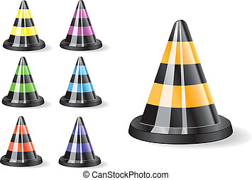 Black traffic cones icon