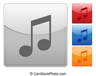 square web buttons music note