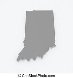 Three-dimensional map of Indiana. USA. 3d