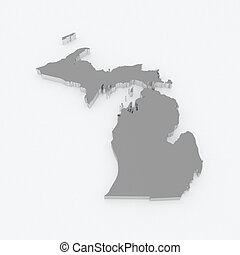 Three-dimensional map of Michigan USA 3d
