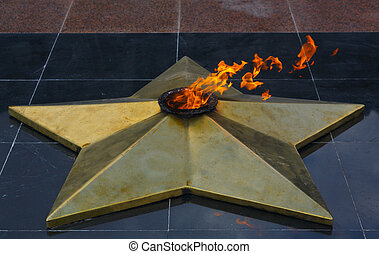 Eternal flame in Park of Victory - Karaganda, Kazakhstan