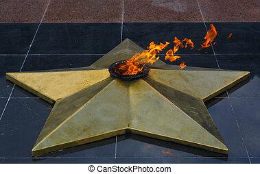 Eternal flame in Park of Victory - Karaganda, Kazakhstan