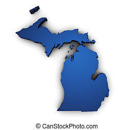 Map Of Michigan 3d Shape - Shape 3d of Michigan State map...