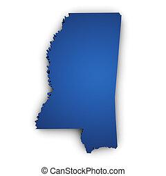 Map Of Mississippi 3d Shape - Shape 3d of Mississippi State...