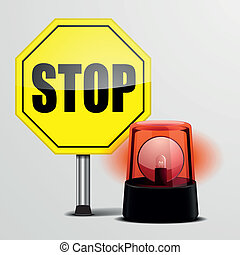 Stop Sign with Flashing Light