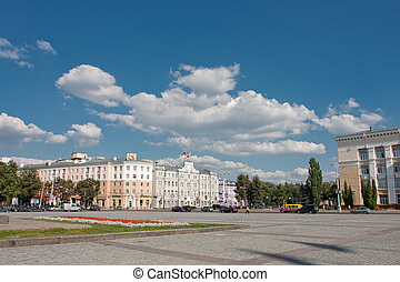 Lenin square in Voronezh, Russia Summer sketch