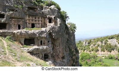 Lycian Rock Tomb in ancient Tlos city at Fethiye Turkey