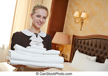 chambermaid at hotel service - Hotel service female...