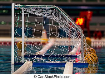 water polo goal or net and balls