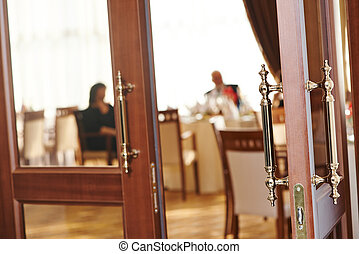 restaurant door welcome - restaurant doors open for party or...