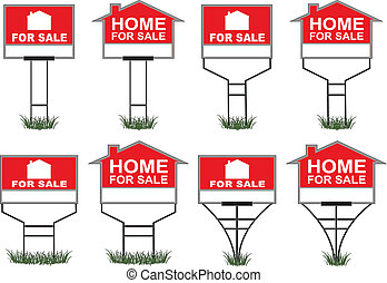Home For Sale Signs - Illustration of eight different types...