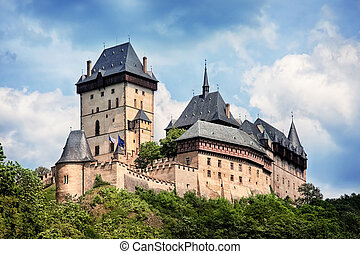 panoramic view of castle Karlstejn, Czech Republic -...