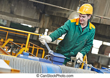 industry worker repairman with spanner - industrial worker...