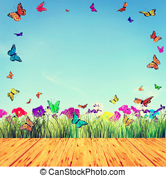 Beautiful summer composition with bright butterflies and flowers