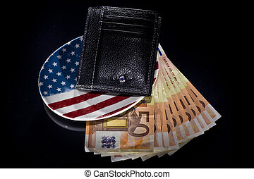 wallet on ashtray and bills