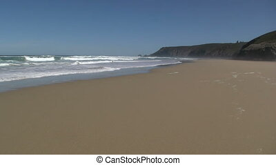 The long beach from Porthtowan to Chapel Porth, Cornwall UK