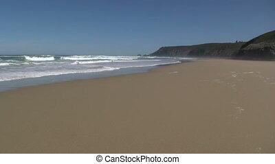 The long beach from Porthtowan to Chapel Porth, Cornwall UK.