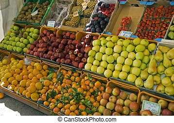 fruit market on crete on greece