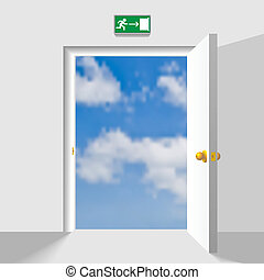 Door to the sky - Opened doorway leading to the heaven...