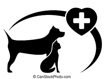 veterinary symbol with dog and cat - black veterinary symbol...