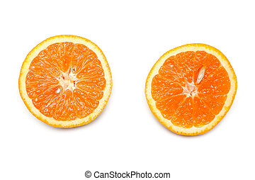 Two cut on fifty-fifty orange on white background