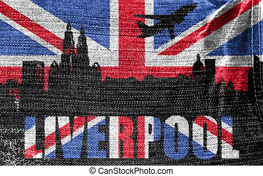 View of Liverpool on the British flag on the jeans texture