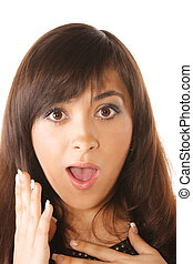 Very surprized expression - Girl with very surprized facial...