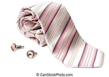 Rose striped tie and cuff links with stone insulated on...
