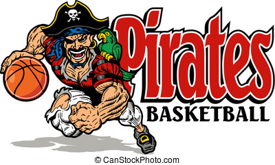 pirates basketball with mean pirate mascot dribbling a...