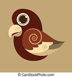 PseudeosFuscata cute bird abstract prehistoric color eps 10...