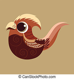 Golden Pheasant cute abstract prehistoric color eps 10...