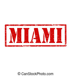 Miami-stamp - Grunge rubber stamp with text Miami,vector...