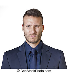 businessman expressions - facial expressions of a young...