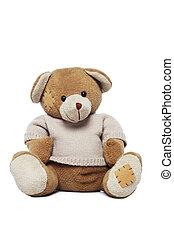lindo, teddy, oso, aislado, encima, blanco