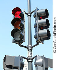 Red Traffic Signal - A traffic signal with a glowing red...