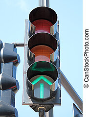 Green Traffic Signal - A traffic signal with a glowing green...