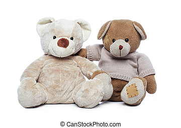 Two Teddy bears hugging each other over white background